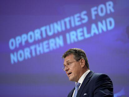 Maros Sefcovic, vicepresidente de la Comisión Europea y responsable de la negociación del Brexit, el pasado 13 de octubre en Bruselas.