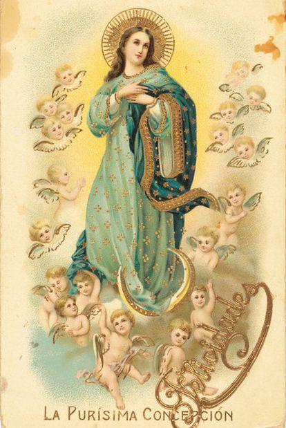 Anverso por la postal enviada por Federico y Francisco García Lorca a su madre.
