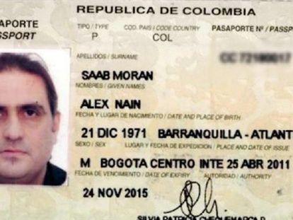 Imagen del pasaporte de Álex Saab, pedido en extradición por Estados Unidos.