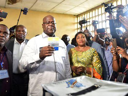 Felix Tshisekedi durante las elecciones del 30 de diciembre.