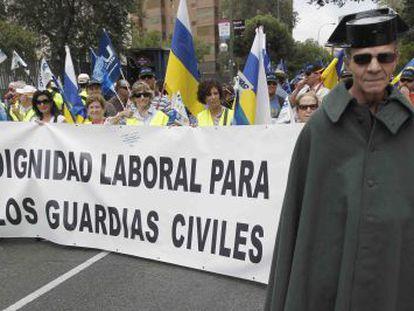 Manifestación de guardias civiles en Madrid en septiembre de 2010.