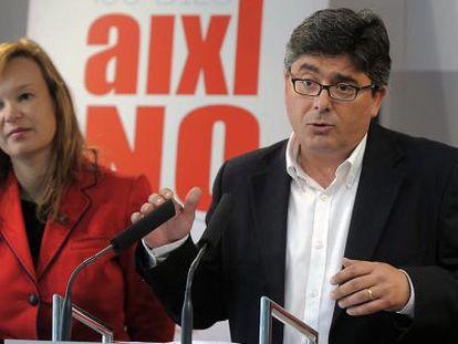 Leire Pajín y Alfred Boix, ayer, durante la rueda de prensa en la sede del PSPV-PSOE.
