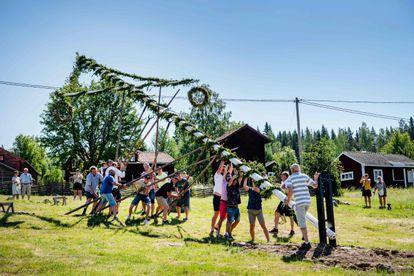 Celebración de la fiesta del Midsummer (mitad del verano) en el pueblo de Sahi (Suecia), el pasado 19 de junio, sin usar ninguna medida de protección.