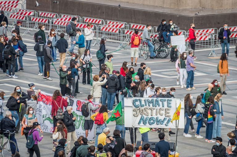 Manifestación contra el cambio climático en Milán el pasado 6 de octubre .
