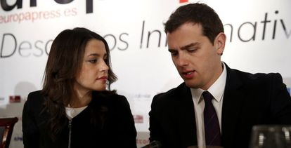 Inés Arrimadas y Albert Rivera, este lunes en Madrid.