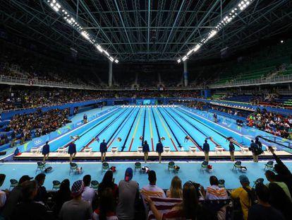 Una prueba de natación en el Estadio Olímpico Acuático de Río.