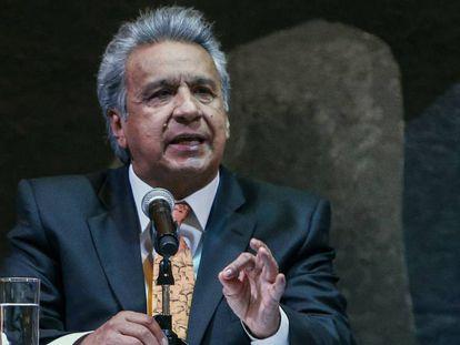 Lenín Moreno en una conferencia en Quito este miércoles.