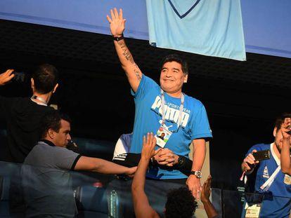 Maradona, durante el Mundial de Rusia.