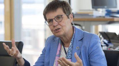 Elke Konig, presidenta del Mecanismo Único de Resolución de bancos, durante la entrevista.