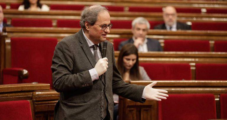 El presidente de la Generalitat, Quim Torra, en el pleno del pasado viernes