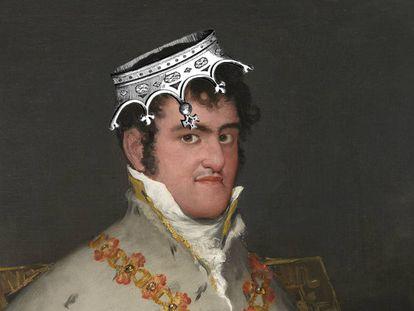Montaje sobre el retrato que hizo Goya de Fernando VII, que data de 1815. La obra original se encuentra en el Museo Thyssen de Madrid.