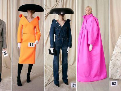 Cinco 'looks' de alta costura de Balenciaga, en su presentación en París este miércoles.