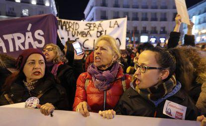 Concentración de colectivos feministas el pasado enero en la Puerta del Sol contra Vox.