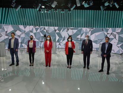 Los candidatos a las elecciones de la Comunidad de Madrid del próximo 4 de mayo, durante el debate electoral de este miércoles en Telemadrid.
