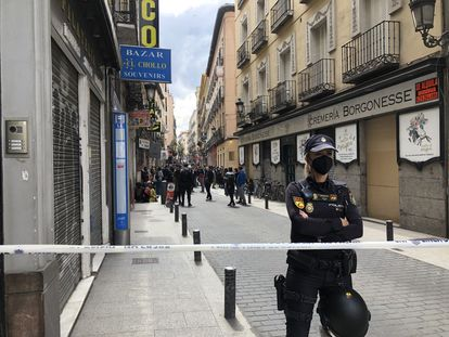 Los alrededores del edificio, en Madrid.