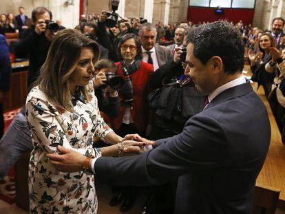 Susana Díaz felicita a Juan Manuel Moreno tras ser investido presidente andaluz. En vídeo, Moreno, nuevo presidente de la Junta.