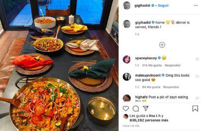 Instragram de la modelo Gigi Hadid.
