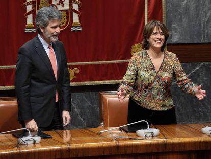 La Ministra de Justicia, Dolores Delgado, y el presidente del CGPJ, Carlos Lesmes.