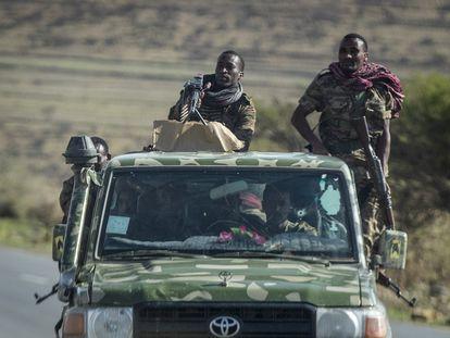 Soldados etíopes el pasado 8 de mayo en el norte de Mekele, capital de Tigray.