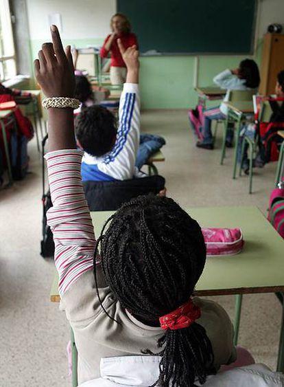 Alumnos de un colegio de Madrid con un alto porcentaje de inmigrantes.