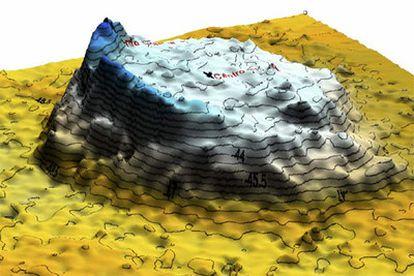 Un gráfico generado por ordenador del volcán Empédocles.