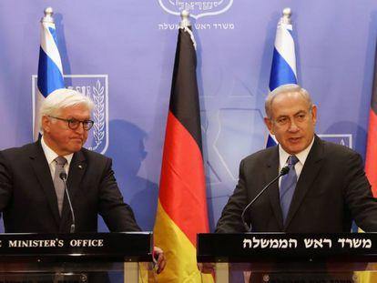 El presidente de Alemania, Frank-Walter Steinmeier, y el primer ministro israelí, Benjamín Netanyahu, en Jerusalén.