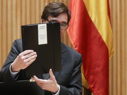 El ministro de Sanidad, Salvador Illa, en su comparecencia en la Comisión de Sanidad del Congreso este miércoles en Madrid.