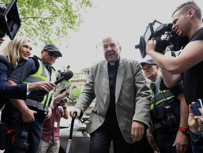 El cardenal George Pell a su llegada a un tribunal en Melbourne en febrero pasado.