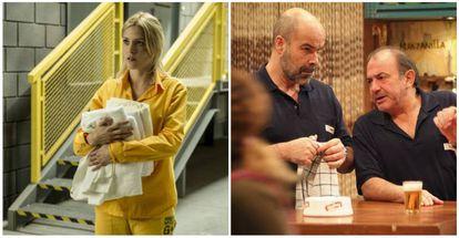 """""""En 'Vis a vis' quisimos incorporar la narrativa de la ficción de cable americana"""", explica Álex Pina. A la izquierda, una imagen de la serie a la que el creador hace referencia. A la derecha, una escena de 'Los Serrano'."""