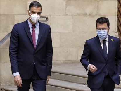 Pedro Sánchez y Pere Aragonès, el pasado miércoles en Barcelona.