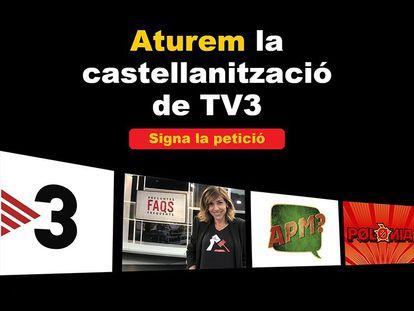 Imagen de la campaña contra el uso del castellano en TV3.