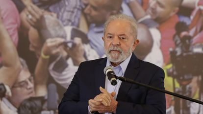 FILE - In this March 10, 2021, file photo, former Brazilian President Luiz Inacio Lula da Silva speaks at the Metalworkers Union headquarters in Sao Bernardo do Campo, Sao Paulo state, Brazil, after a judge threw out both of his corruption convictions. (AP Photo/Andre Penner, File)