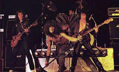 Imagen que salió en la contraportada del primer disco de Obús, 'Prepárate' (1981), con Fortu al frente.