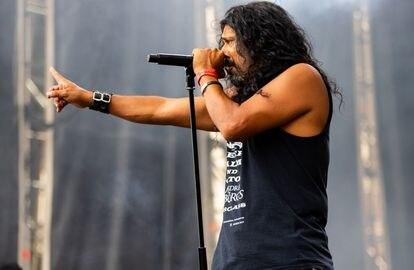El cantante, en un concierto en Villana (Valencia), en el Festival Leyendas del Rock de 2018.