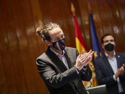 El líder de Podemos, Pablo Iglesias, este miércoles en el traspaso de carteras ministeriales.