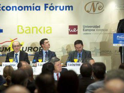 El presidente de la Generalitat, Alberto Fabra, este martes durante la conferencia del Fórum Europa.