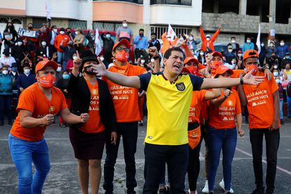 The candidate for the presidency of Ecuador Andrés Arauz participates in a meeting with supporters, in Quito, on October 29.