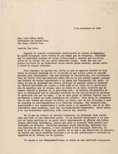 Carta de Francisco Ayala a la gobernador de Puerto Rico en 1952, Luis Muñoz Marín.