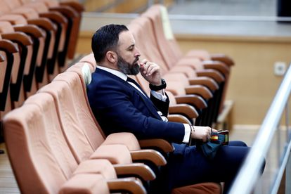 Santiago Abascal en una sesión de la Asamblea de Madrid.