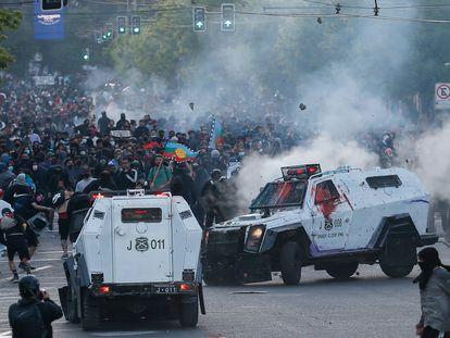 Una imagen de las protestas este lunes en Valparaíso, Chile.