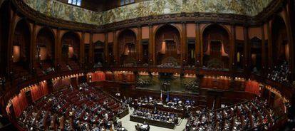 La Cámara de Diputados italiana, durante el debate de la moción de confianza.