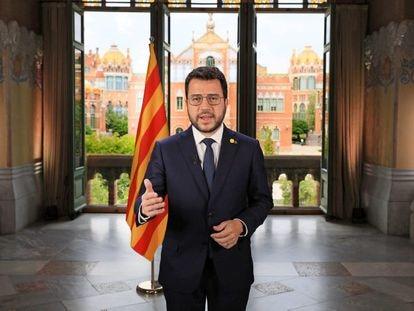 El 'president' Pere Aragonès, durante su mensaje por la Diada de Cataluña