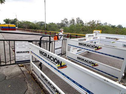 El puente internacional Simón Bolívar, el principal paso entre Colombia y Venezuela, en marzo de 2020.