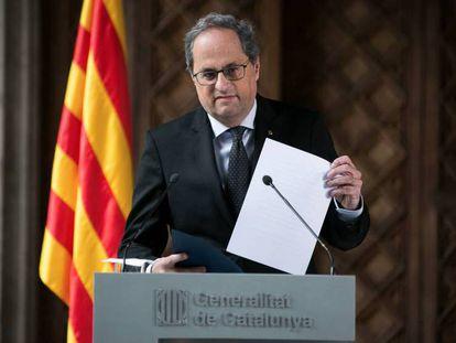 El 'president' catalán, Quim Torra, este miércoles. En vídeo, Torra anuncia que convocará elecciones en Cataluña tras la aprobación de los presupuestos.