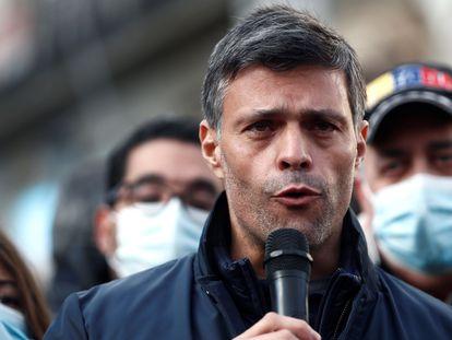 Leopoldo López habla durante un evento de apoyo de los venezolanos en Madrid, el domingo pasado.