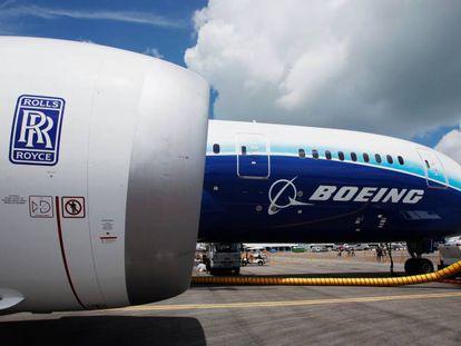 Un motor Rolls Royce Trent 1000 de un avión Boeing 787.