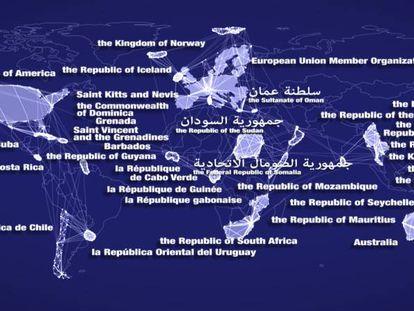 Mapa del mundo con los países firmantes del acuerdo sobre medidas del Estado rector del puerto.