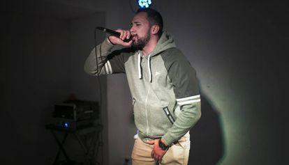 Valtonyc en el concierto sorpresa en el local Freedonia de Barcelona.