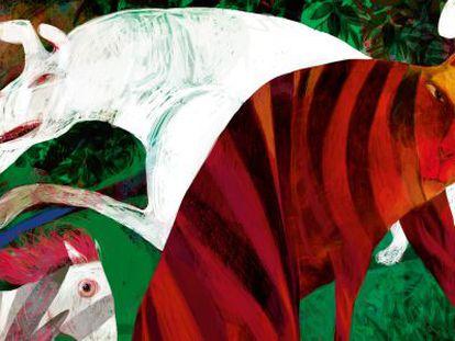 Ilustración de Ajubel para The cat that walked by himself, en el libro Kipling ilustrado.