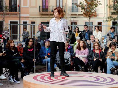 Elisenda Alemany, número dos de la lista de Catalunya en Comú-Podem, este domingo, en Barcelona.
